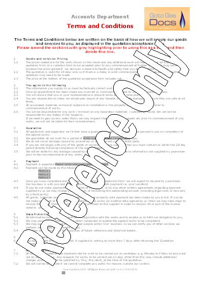 gas forms quotation acceptance form