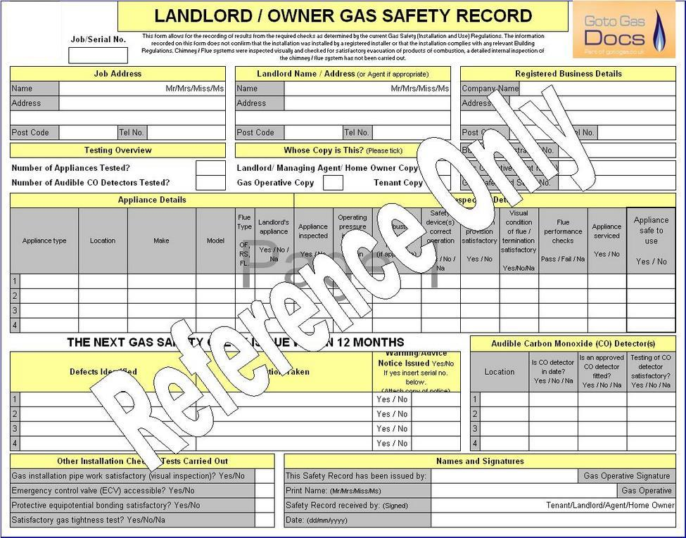 gas forms landlord gas safety record certificate excel template