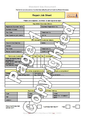 job sheet template