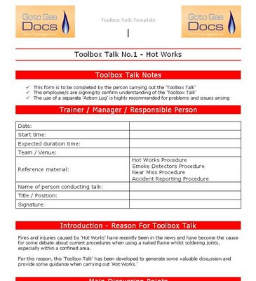 tool box talks template - gas forms