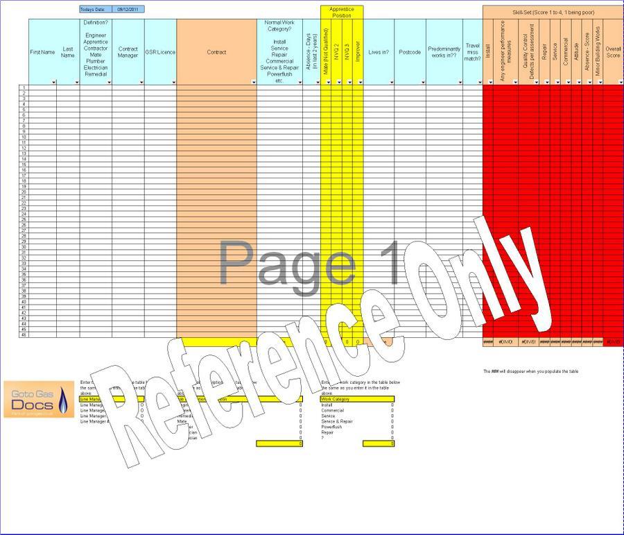 gas forms  engineer redundancy scoring matrix template