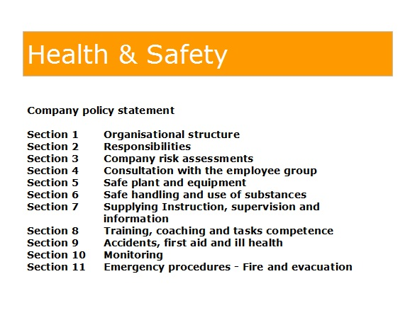 Gas Forms Health And Safety Policy Template