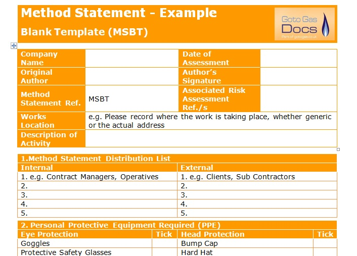 Amazing Method Statement Blank Template . To Method Statements Template
