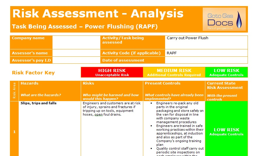 Forms Risk Assessment  Power Flush