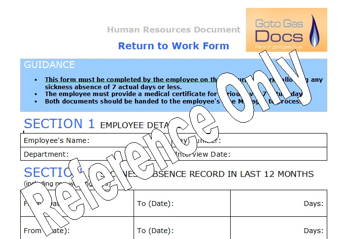 Gas Forms Return To Work Form