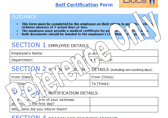 Gas Forms: Self Certification Form