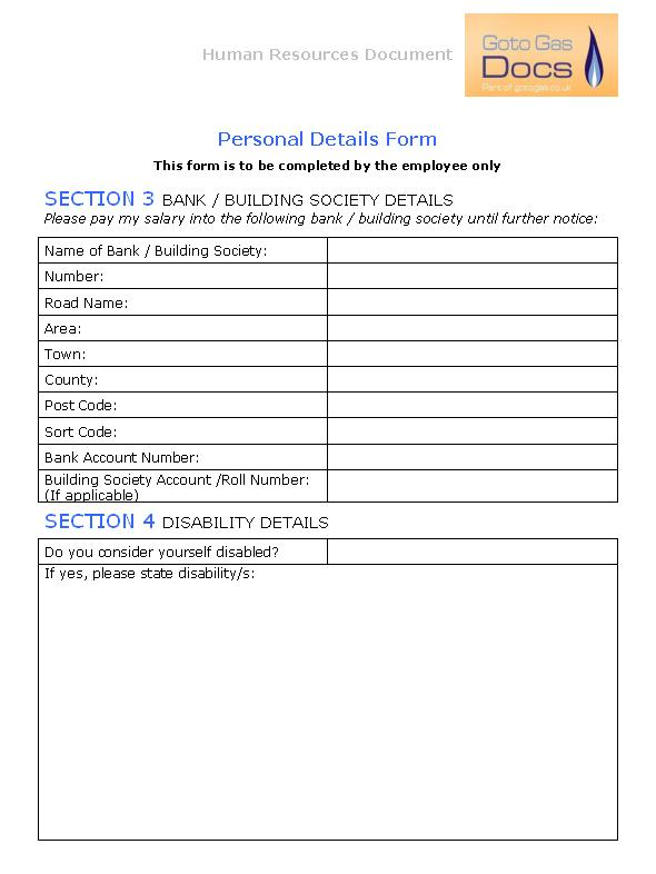 Gas forms personal details form for Next of kin form template uk