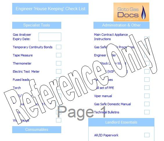 housekeeping check list